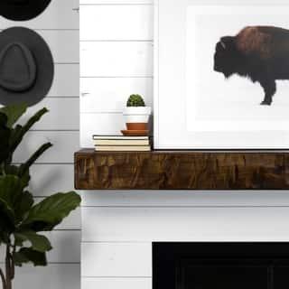 Rough Hewn Fireplace Mantel Shelf