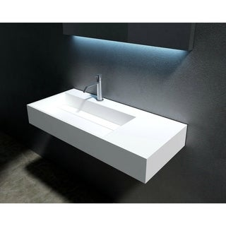 "Juniper 36"" Solid Surface Wall Mounted Sink - Left Basin"