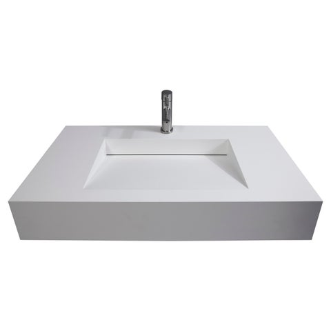 "Pyramid 36"" Solid Surface Wall Mounted Sink"