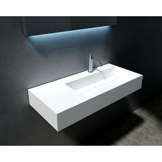 """Juniper 36"""" Solid Surface Wall Mounted Sink - Right Basin"""