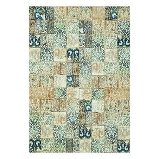 Maxy Home Valencia Contemporary Teal Tiles 2 ft. 7 in. x 4 ft. 11 in. Area Rug - 2'7 x 4'11