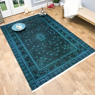 Maxy Home Serica Contemporary Teal Blue 2 ft. 7 in. x 4 ft. 11 in. Area Rug - 2'7 x 4'11