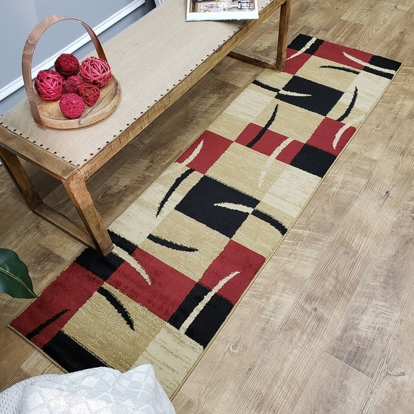 Maxy Home Pasha Contemporary Boxes Multicolor 2 ft. 7 in. x 10 ft. Rug Runner - 2'7 x 10'