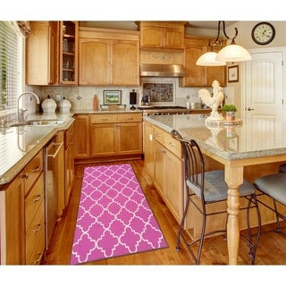 Maxy Home Hamam Moraccan Trellis Pink 2 ft. 8 in. x 9 ft. 10 in. Rubber Backed Runner Rug - 2'8 x 9'10