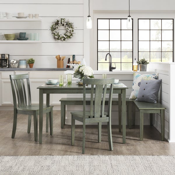 Wilmington II Rectangular Antique Sage Green Breakfast Nook Set By INSPIRE  Q Classic