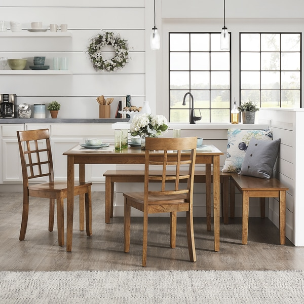 Wilmington II Rectangular Oak Finish Breakfast Nook Set By INSPIRE Q Classic