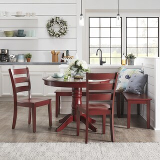 Wilmington II Round Pedestal Base Antique Berry Red Breakfast Nook Set by iNSPIRE Q Classic