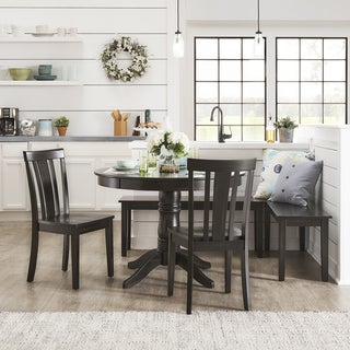 Wilmington II Round Pedestal Base Antique Black Breakfast Nook Set by iNSPIRE Q Classic