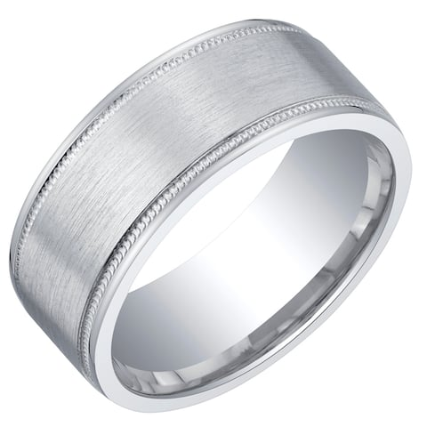 Mens Classic Sterling Silver Wedding Ring Band in Milgrain Brushed Matte 8mm Comfort Fit