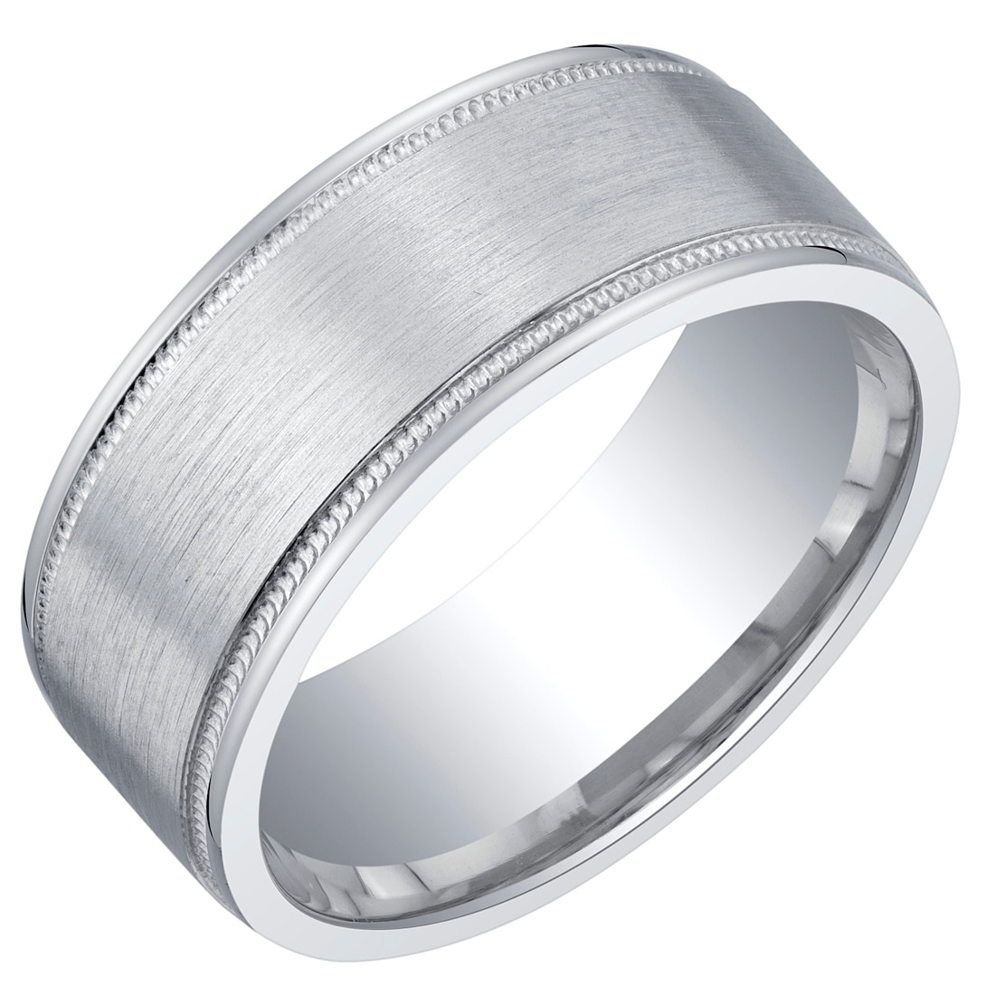 This is a photo of Mens Classic Sterling Silver Wedding Ring Band in Milgrain Brushed Matte 42mm Comfort Fit