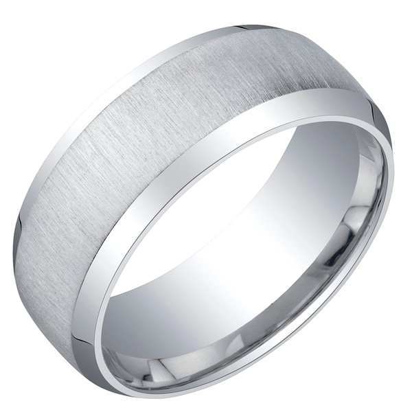 Mens Sterling Silver Beveled Edge Wedding Ring Band in Brushed Matte 8mm Comfort Fit
