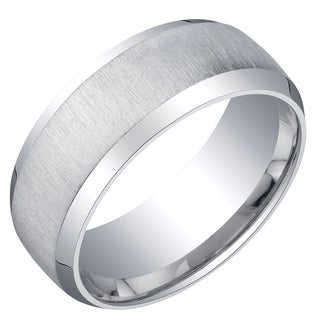 Mens Sterling Silver Beveled Edge Wedding Ring Band in Brushed Matte 8mm Comfort Fit