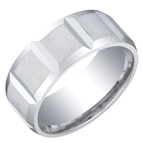 Mens Sterling Silver Delta Wedding Ring Band in Brushed Satin 8mm Comfort Fit