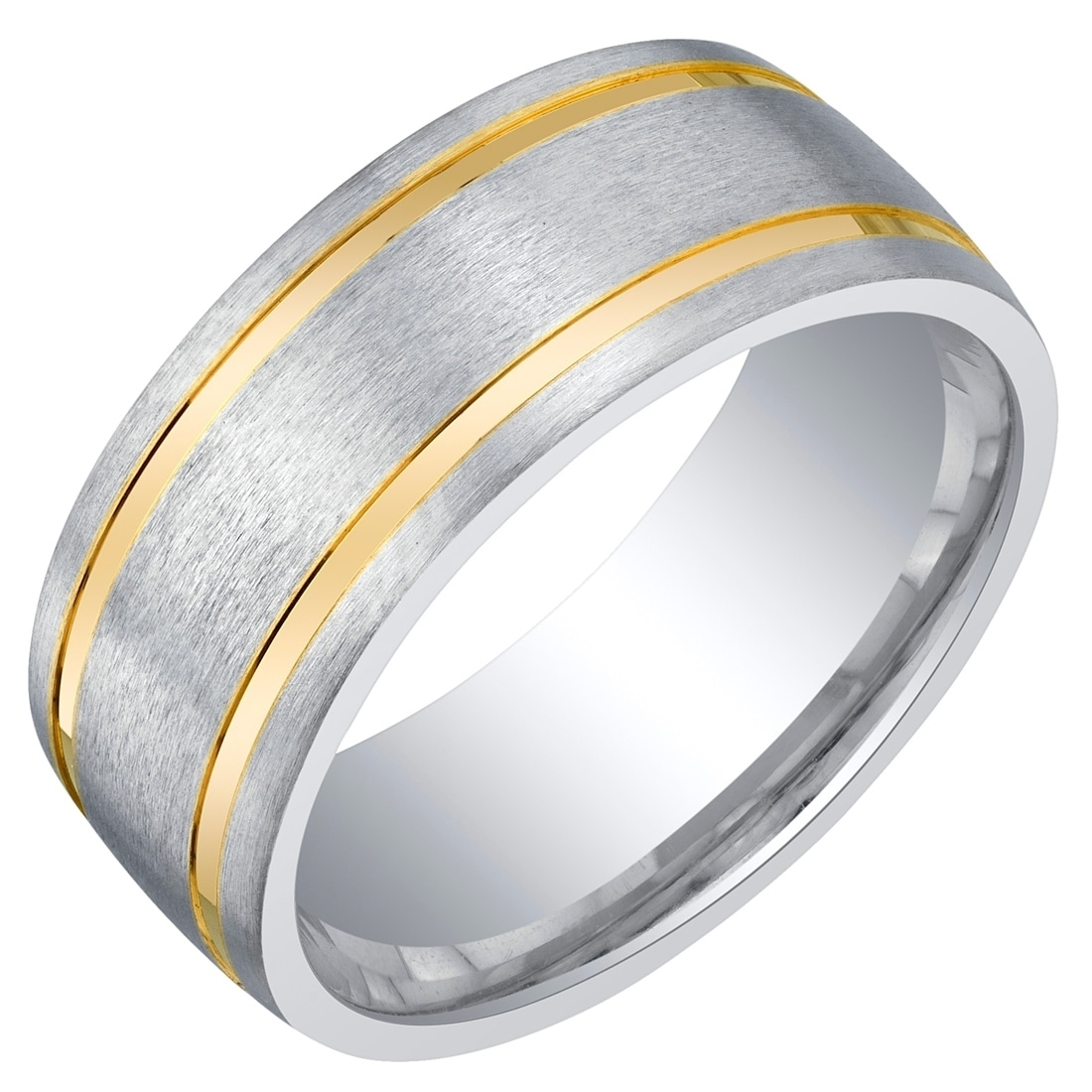 It is just an image of Mens Two-Tone Sterling Silver Wedding Ring Band in Brushed Matte 41mm Comfort Fit