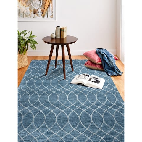 "Marilyn Azure Contemporary Area Rug - 3'9"" x 5'9"""