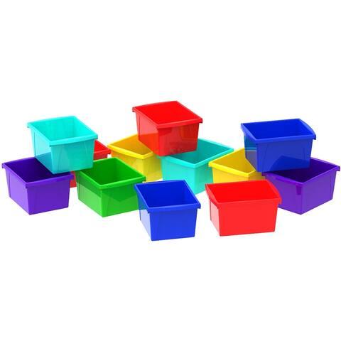 Storex 4 Gallon & 15 L Classroom Storage Bin / Blue, Red, Purple, Green (12 units/pack)