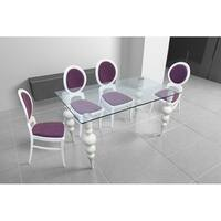 Delux Clear Glass Dining Table - Beige