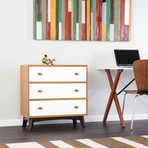 Holly & Martin Chantz 3-Drawer Accent Chest - Midcentury Modern Style - Weathered Gray Oak w/ White and Black