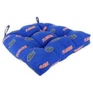 """Florida Gators Indoor / Outdoor Seat Cushion Patio D Cushion 20"""" x 20"""", 2 Tie Backs - 20"""" x 20"""" x 3"""""""