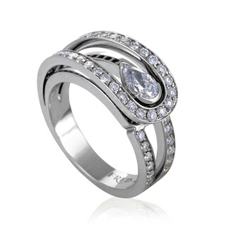 Fred of Paris Lovelight Platinum .30ct Pear and Round Diamond Engagement Ring