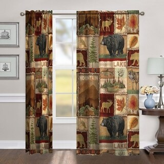 """Laural Home Nature Collage 95 Inch Room Darkening Curtain Panel - 95l""""x50w"""""""