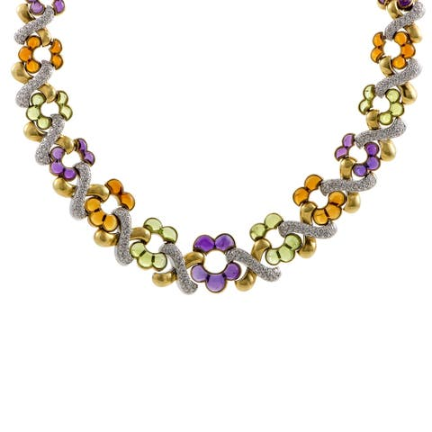Garrard Womens Yellow Gold and White Gold Diamond and Cabochons Necklace