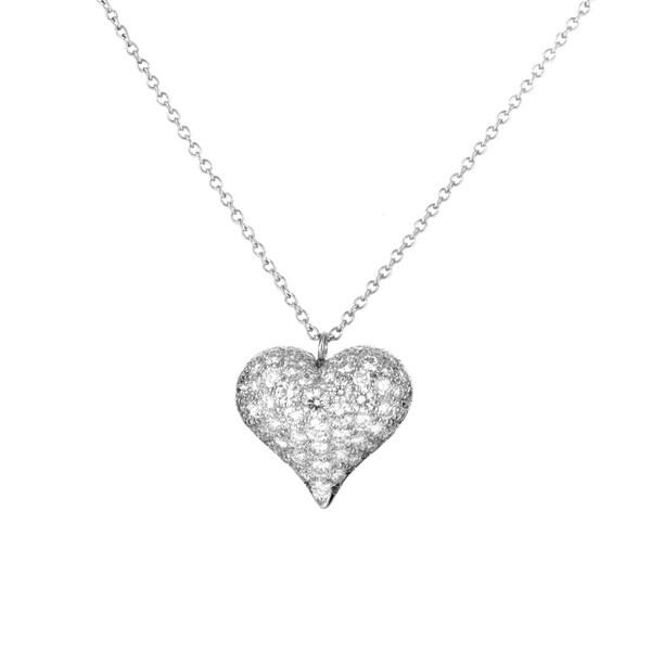 Pre-Owned Tiffany & Co. Estate Platinum Diamond Heart Pendant Necklace TIF41116-9038