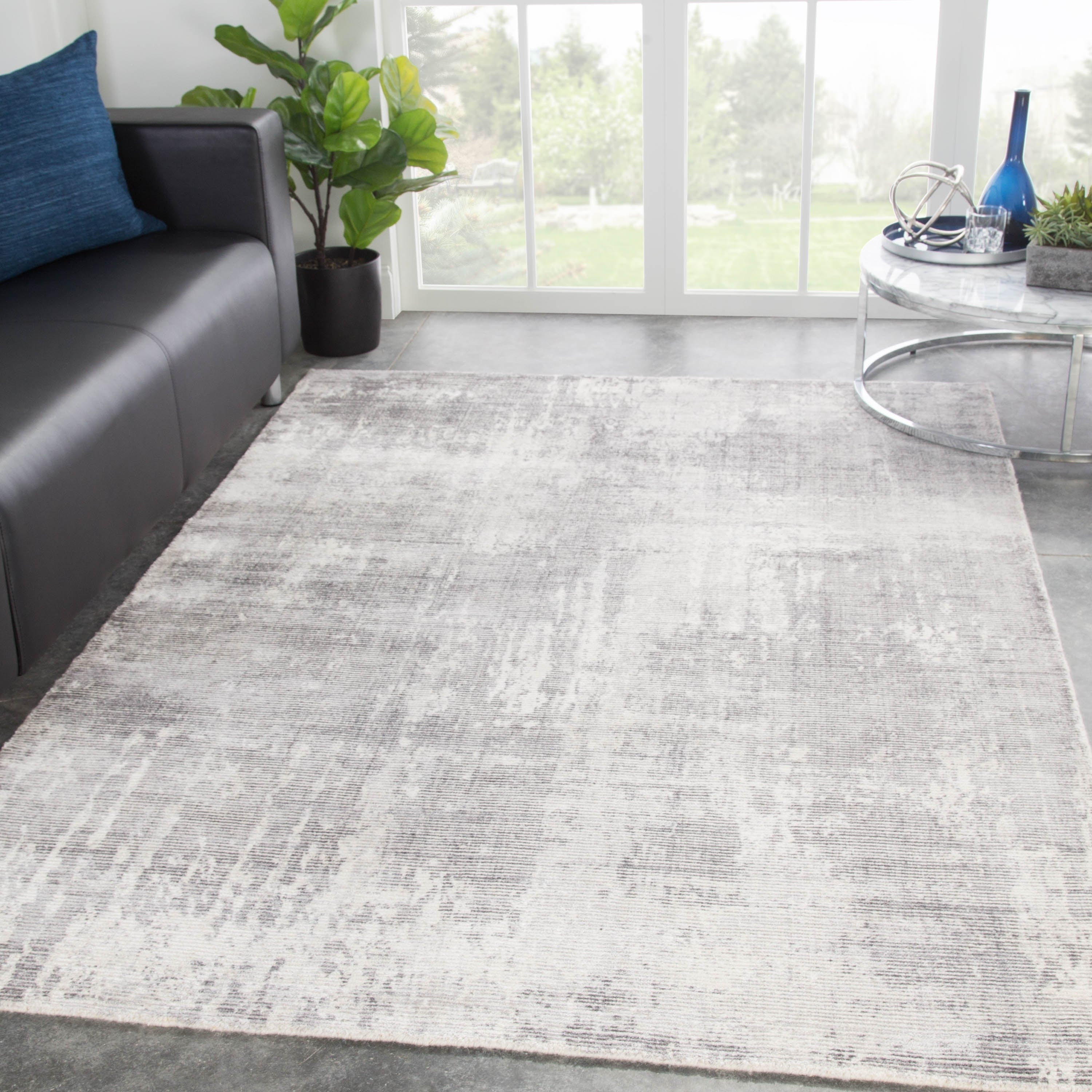 Abstract Light Gray White Area Rug 7