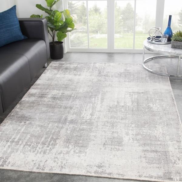 "Orenda Handmade Abstract Light Gray/ White Area Rug - 7'10"" x 10'10"""