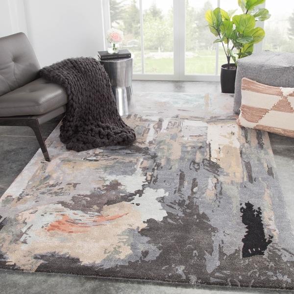 Morisot Handmade Abstract Gray/ Blush Area Rug - 2' x 3'
