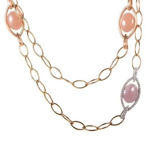 Zydo Multi-Gold Pink Stone and Diamond Necklace