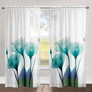 """Laural Home Ombre Blue Floral 84 Inch Sheer Curtain Panel - 84l""""x50w"""""""
