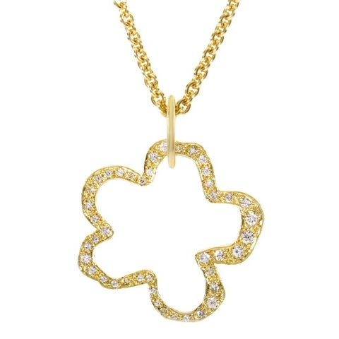 Robert Lee Morris Yellow Gold & Diamond Flower Pendant Necklace NK8-084365