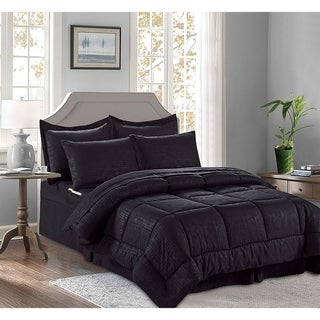 Elegant Comfort 8-PIECE Bed-in-a-Bag Comforter - Bamboo Design Comforter ,Bed Sheet Set ,with Double Sided Storage Pockets
