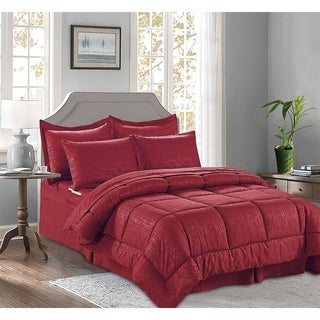 Elegant Comfort 8-PIECE Bed-in-a-Bag Bamboo Design Comforter with Storage Pockets
