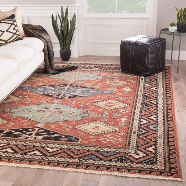 """Kashan Hand-Knotted Medallion Red/ Blue Area Rug - 7'10"""" x 9'10"""""""
