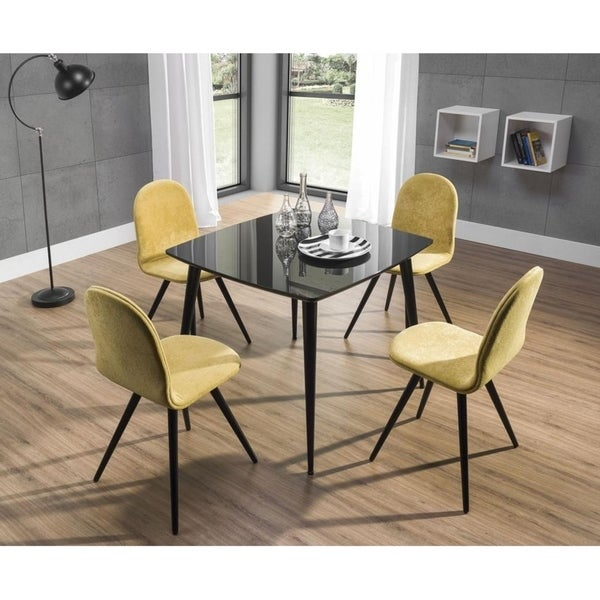 Shop Essai Square Glossy Black Glass Top Dining Table On Sale