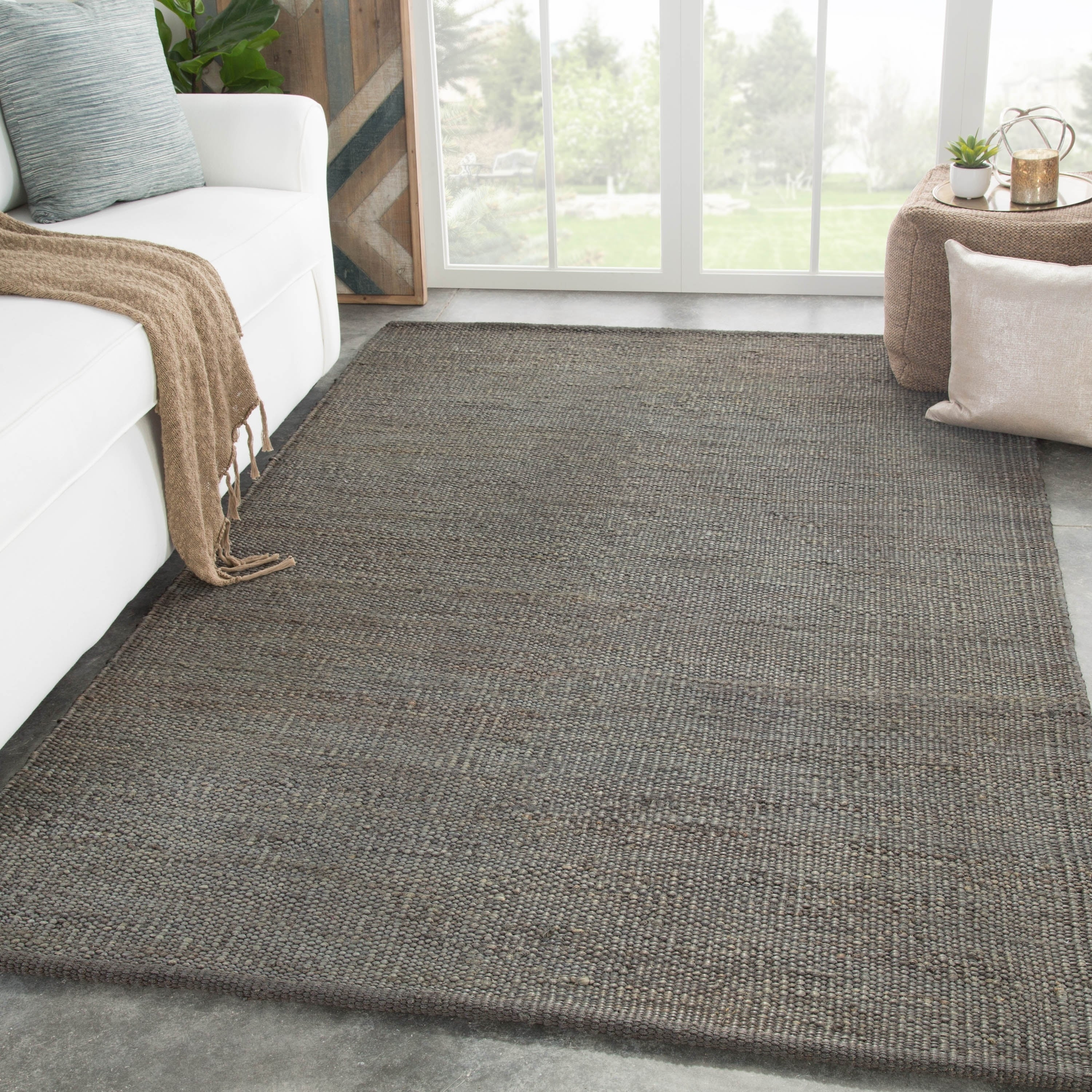 Castine Natural Solid Dark Gray Area Rug 5 X 8