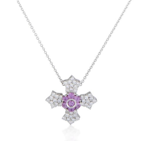 Pasquale Bruni White Gold Diamond and Pink Tourmaline Cross Pendant Necklace