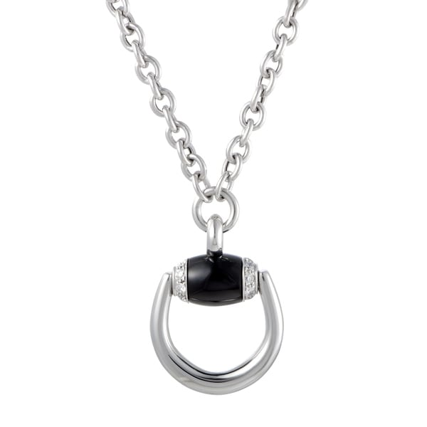 62db6048e Shop Gucci Horsebit White Gold Diamond and Onyx Pendant Necklace - Free  Shipping Today - Overstock - 21703836