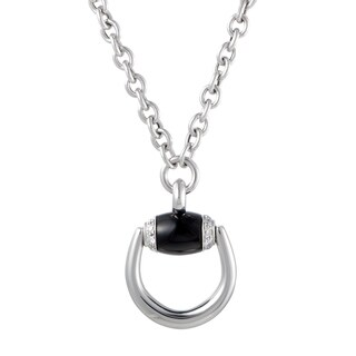 Gucci Horsebit White Gold Diamond and Onyx Pendant Necklace