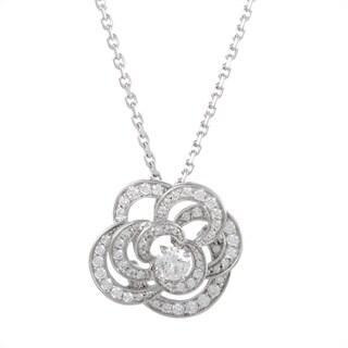 Chanel Camellia White Gold Full Diamond Pave Pendant Necklace