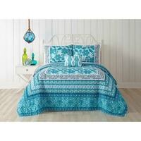 Jessica Simpson Aqua Flora Quilt (shams sold separately)