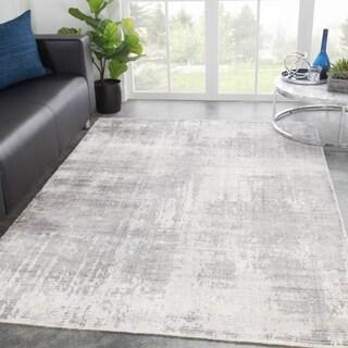 Orenda Handmade Abstract Light Gray/ White Area Rug - 2' x 3'