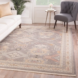 Setenay Hand-Knotted Medallion Gray/ Gold Area Rug - 2' x 3'