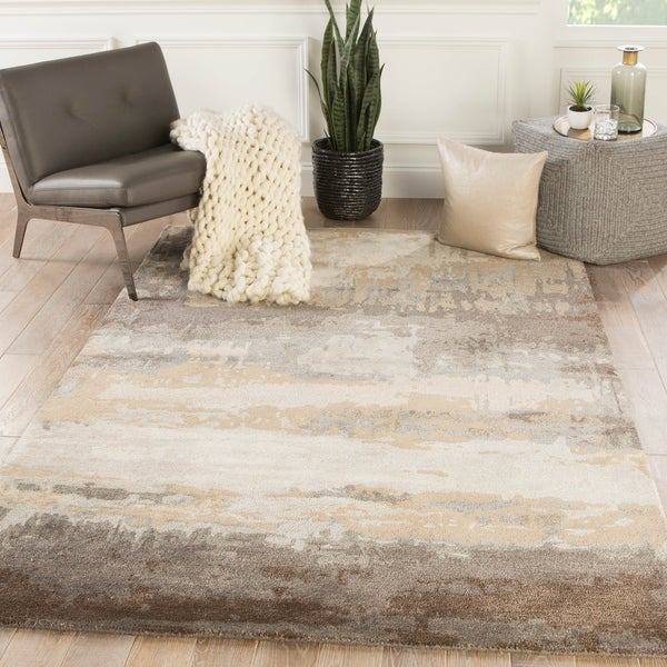 Ilsted Handmade Abstract Gray/ Tan Area Rug - 2' x 3'