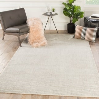 Phase Handmade Solid Ivory/ Gray Area Rug - 10' x 14'