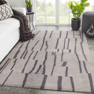 Meki Handmade Stripe Light Gray/ Dark Gray Area Rug - 2' x 3'