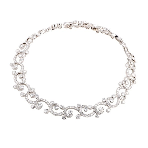 Cartier Dentelle Womens Platinum Full Diamond Pave Collar Necklace