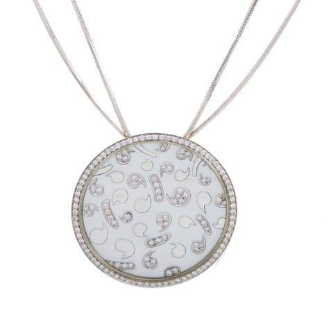 Korloff White Gold Diamond and Mother of Pearl Large Round Pendant Necklace